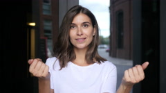 Beautiful Girl Inviting People to Avail Opportunity, Offering Stock Footage