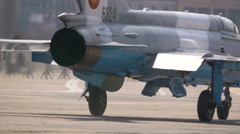 Jet Exhausts recorded. Military fighter jet, rear view, engines Stock Footage