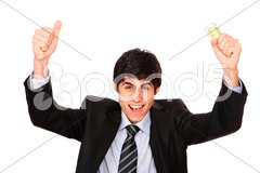 Man is paying with euro banknotes Stock Photos