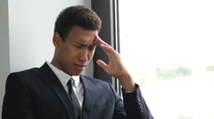 Upset, Tense Businessman in Problem, Thinking for Solution  Stock Footage