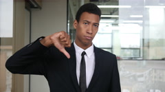 Thumb Down, Unsatisfied Black Businessman Stock Footage