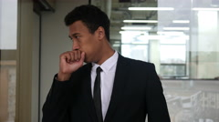 Coughing Young Black Businessman in Office Stock Footage