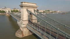 Aerial view of Chain bridge - Budapest, Hungary Stock Footage