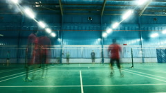 Time Lapse - People playing badminton in an indoor court. Stock Footage