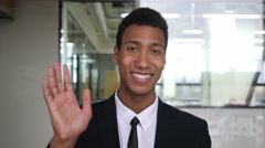 Web Cam View, Online Video Chatting Black Businessman in Suit Stock Footage