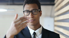 Inviting for Start Up, Offering Gesture by Black Businessman in Suit Stock Footage