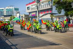 Police riding motorcycles participate in Colombia's most importa Stock Photos