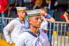 Naval academy students participate in Colombia's most important Stock Photos