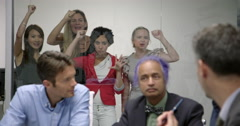 Business women angry at being excluded from all-male meeting 4K Stock Footage