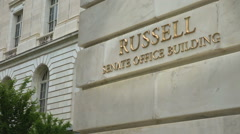Russell Senate Office Building sign Stock Footage