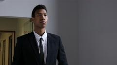 Tired Black Businessman Walking in Office Stock Footage