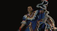 Slow motion shot of Mexican women in traditional dress dancing in the dark Stock Footage