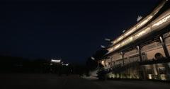 Pagoda in Bai Dinh Temple illuminated at night, Vietnam Stock Footage