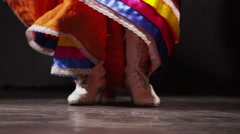 Slow motion shot of Mexican women in traditional dress dancing in the dark - 4K Stock Footage