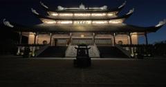 Night view of Bai Dinh Pagoda in Vietnam Stock Footage
