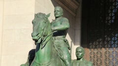 Theodore Roosevelt Statue Stands At Museum Stock Footage
