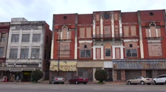 Abandoned storefronts in the rundown downtown of Selma, Alabama. Stock Footage