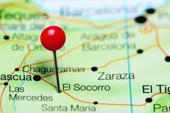 El Socorro pinned on a map of Venezuela Stock Photos