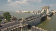 Aerial view of Chain bridge and lions - Budapest, Hungary Stock Footage