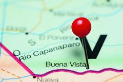 Buena Vista pinned on a map of Venezuela Stock Photos