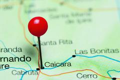 Caicara pinned on a map of Venezuela Stock Photos