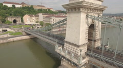 Aerial view of Budapest - Chain bridge, Hungary Stock Footage