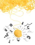 Concept of idea and innovation with wool ball Stock Photos