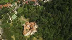 Aerial view of Bran Castle, M also known as Dracula castle, in Transylvania Stock Footage