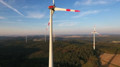 Wind turbines - aerial view Stock Footage