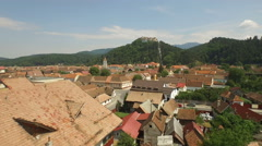 AERIAL: View of Rasnov Fortress and old city, in the district of Brasov Stock Footage