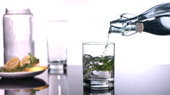 Slow motion shot of mint water being poured Stock Footage