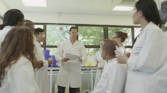 4K Young student scientists in group meeting at university college Stock Footage