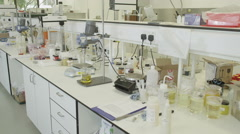 4K Science Lab and scientists working on cosmetics Stock Footage