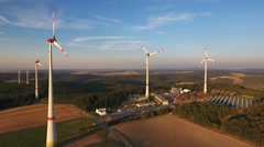 Wind turbines - aerial view Stock Footage