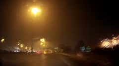 Epic POV driving in heavy rain at night on highway Stock Footage