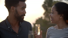 Couple Enjoying Glass Of Champagne Outdoors Together Stock Footage
