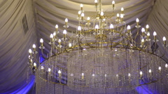 Crystal Chandelier in a wedding tent Stock Footage
