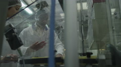 4K, Quality control workers in pharmaceutical factory Stock Footage