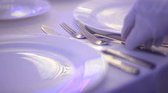 Banquet dinner table - wedding preparation Stock Footage