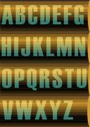 Striped Sunblind Alphabet. Unusual vintage font Stock Illustration
