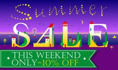 Summer Sale. This weekend only. Ten percents off. Stock Illustration
