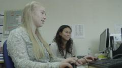 4K Apprentice woman in office training Stock Footage