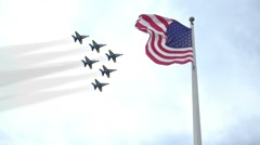 BLUE ANGELS FLY PAST AMERICAN FLAG SLOW MOTION JET FIGHTER USA NAVY Stock Footage