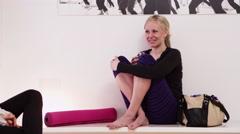 Woman in yoga room - 4K Stock Footage