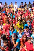 Local people and tourists watching Desert Festival performance, Jaisalmer, Ra Stock Photos