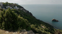 Beautiful Cape Fiolent. Heraclean peninsula on the southwest coast of Crimea Stock Footage