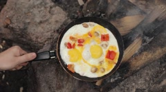 Scrambled Eggs With Mushrooms and Pepper on Fire Stock Footage