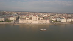 Aerial shot of Budapest - Hungarian Parliament and Danube river Stock Footage