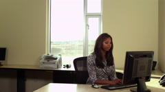 Office worker scaring coworker with megaphone Stock Footage