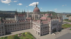 Aerial view of Hungarian Parliament and Kossuth square - Budapest, Hungary Stock Footage